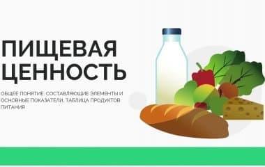 Пищевая ценность: общее понятие, составляющие элементы и основные показатели, таблица продуктов питания