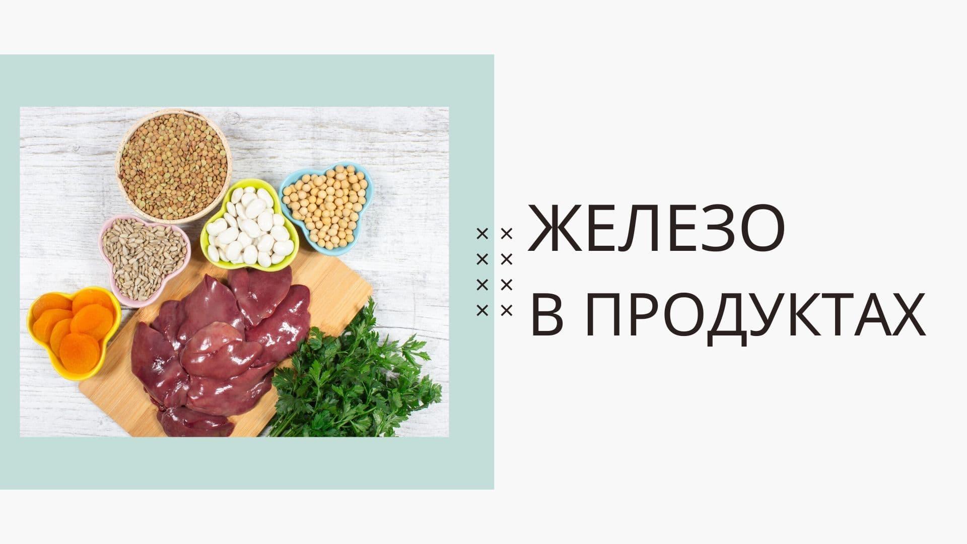 Список продуктов, содержащих железо