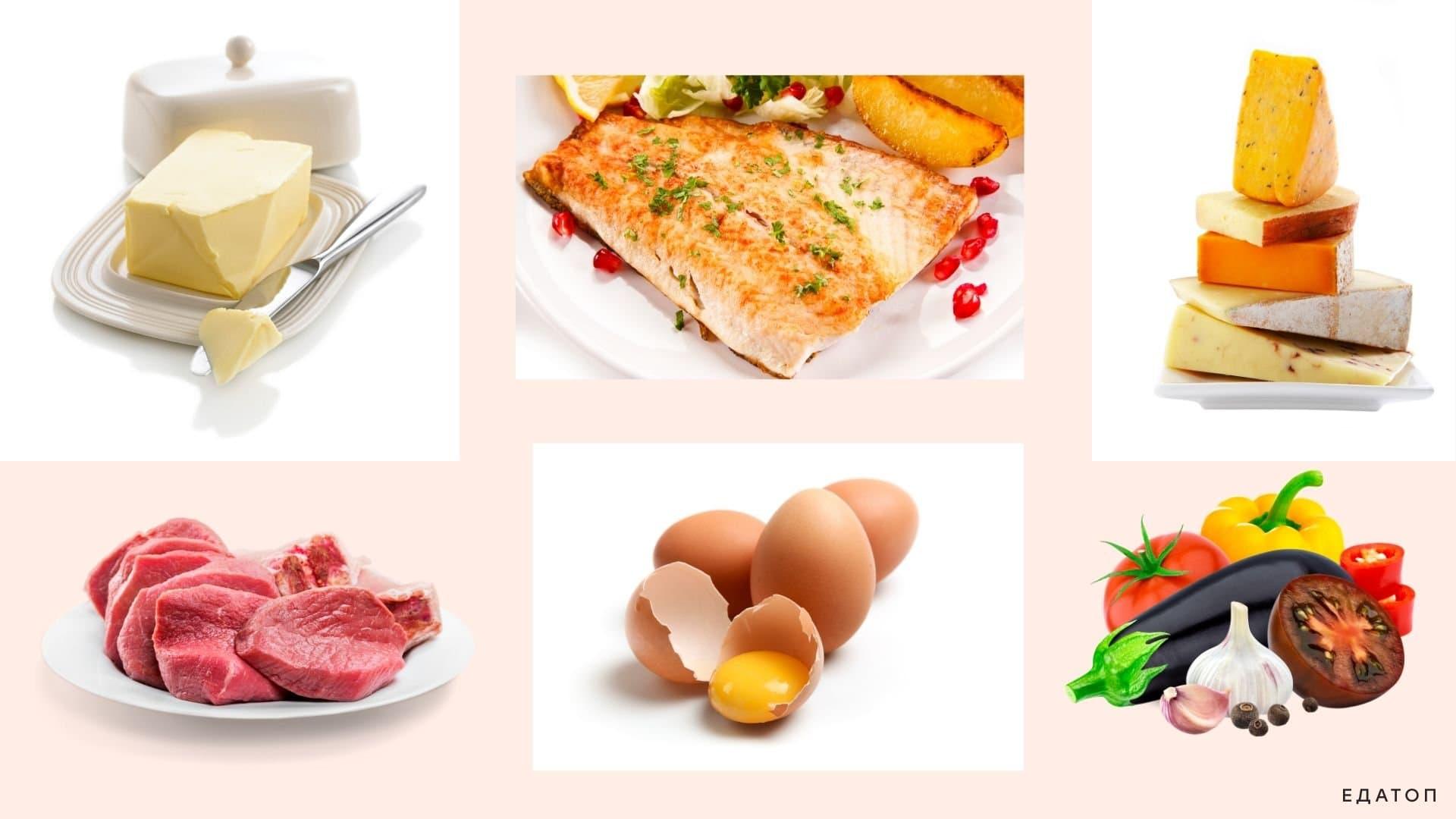 Рекомендованные продукты на кето-диете.
