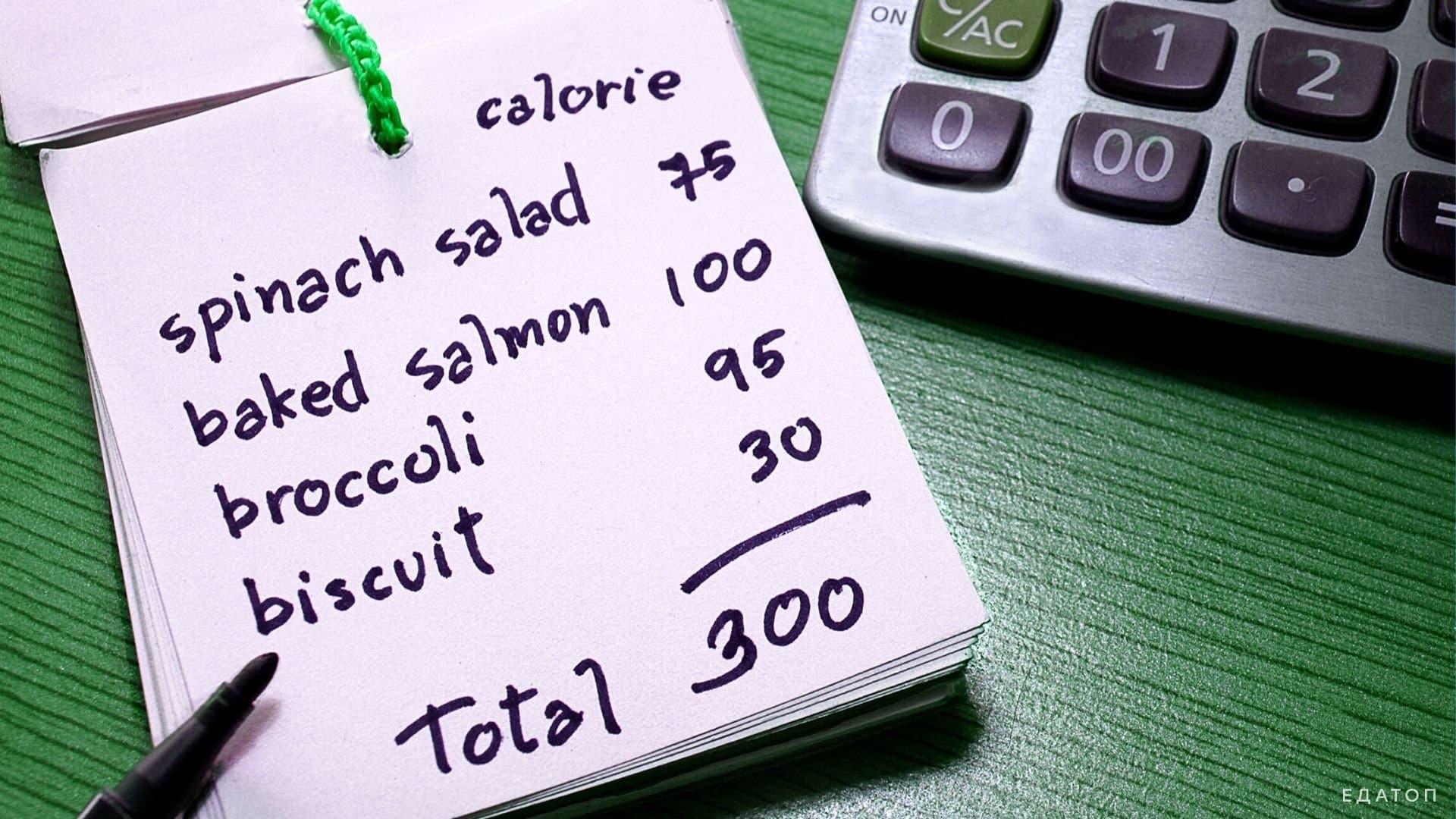 Подсчет калорий съеденных продуктов.