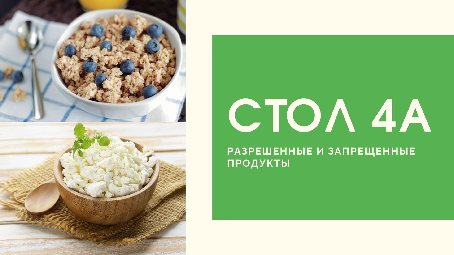 Стол 4а: разрешенные и запрещенные продукты