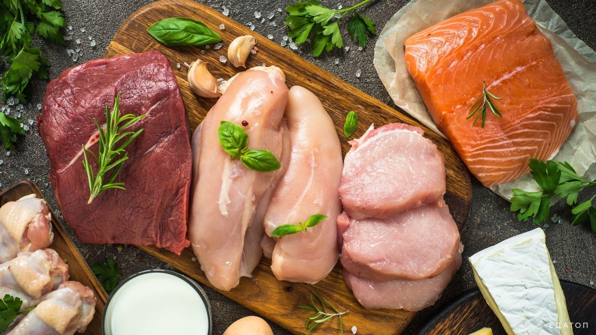 Мясо и рыба при низкоуглеводной диете.
