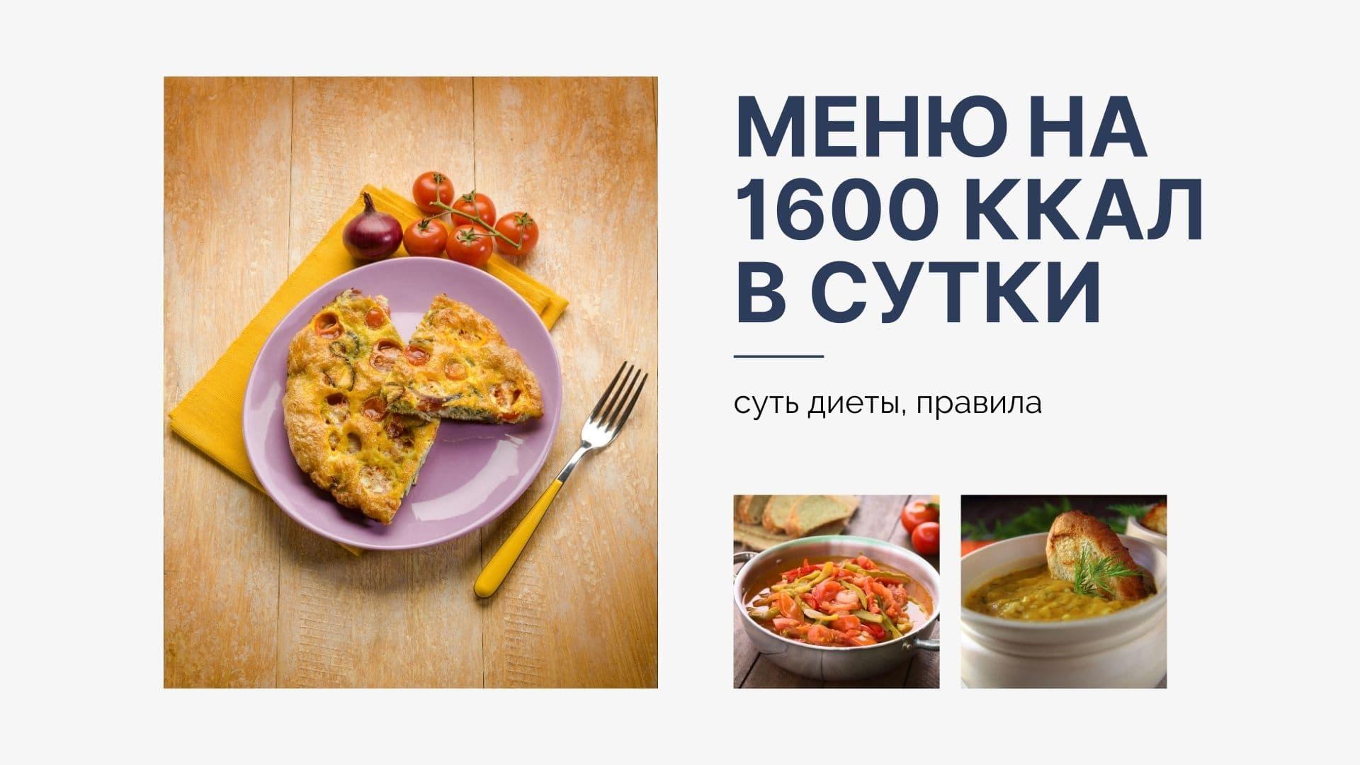 Меню на 1600 калорий в сутки: суть диеты, правила
