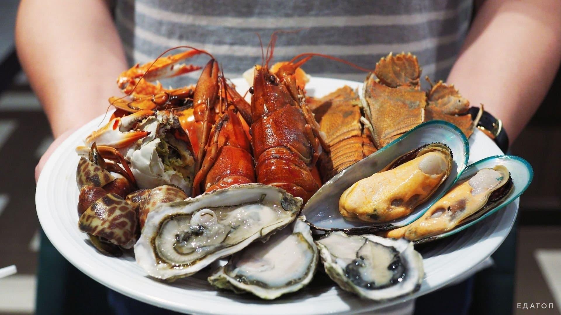 Морепродукты содержат большое количество белка.